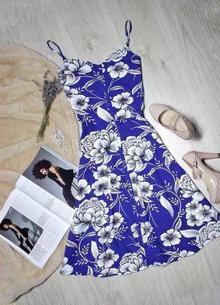 Сарафан котон синий в белые цветы dorothy perkins размер м