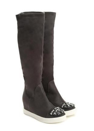 Распродажа! ботфорты🔥 трендовые сапоги/ботинки до колен с камнями vices