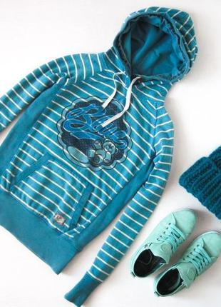 Худи в полоску 100 % хлопок толстовка с капюшоном есть карман свитер принт мишка