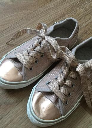 Мокасины кеды «розовый металлик», в полоску, блестящие шнурки, next