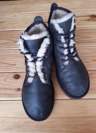 Зимние ботинки кожа/овчина