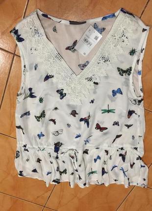 Блузка топ принт бабочки #17