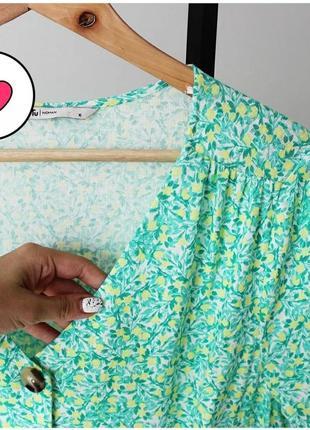 Яркое винтажное ретро льняное чайное платье халат пуговицы принт лимоны xl-xxl