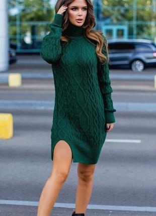 Теплое шерстяное вязаное платье турция микс цветов скл.1 арт.58776