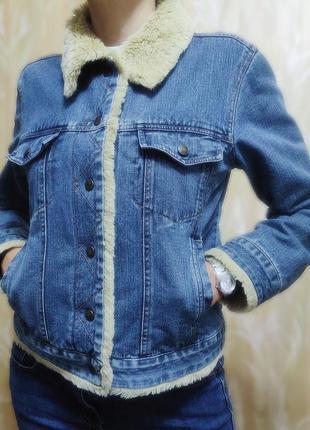 Джинсовая куртка теплая1 фото