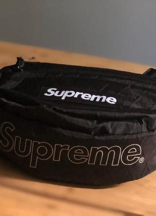Бананка supreme waist bag fanny pack сумка на пояс черная