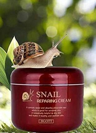Мультифункциональный улиточный крем jigott snail reparing cream, 100 мл, корея