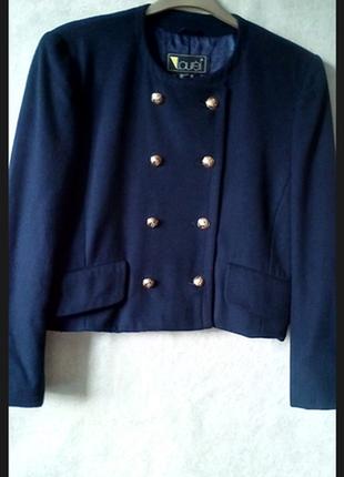 Двубортный укороченый ретро  пиджак шерсть lauren