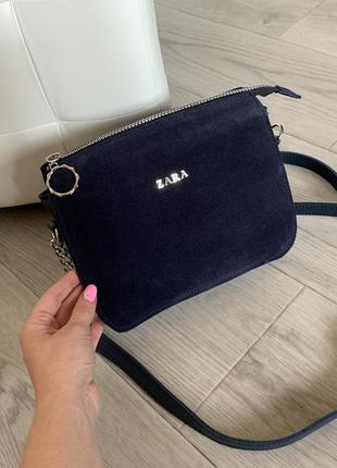 Женская сумка,синяя,замша