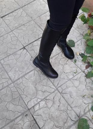 Кожаные сапоги на шнуровке на любую полноту ноги и на полную ножку