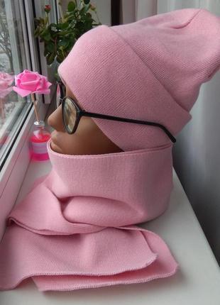 Новый стильный комплект: шапка бини и шарф, розовый