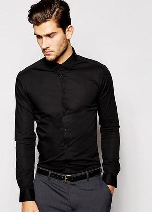 Мужская рубашка приталенная 100% котон pull&bear