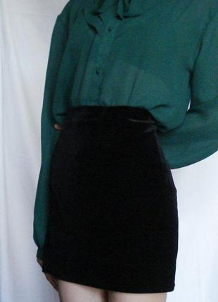 Бархатная велюровая вельветовая школьная винтажная юбка трапеция высокая талия спідниця