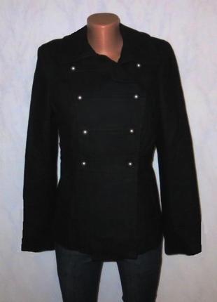 Роскошное черное шерстяное пальто полупальто от h&m размер: 46-м