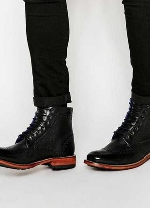 Кожаные брендовые броги ботинки ted baker / шкіряні черевики