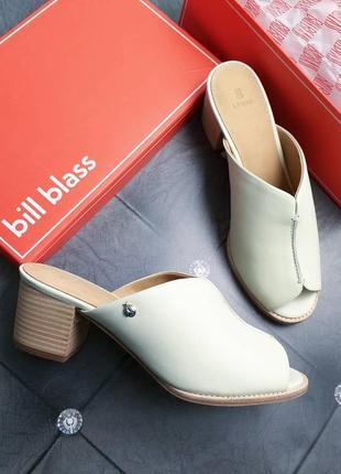 Bill blass оригинал кожаные сабо босоножки цвета ванили на небольшом каблуке