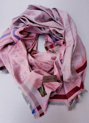 Louis vuitton шарф палантин кашемир / шелк серо розовый