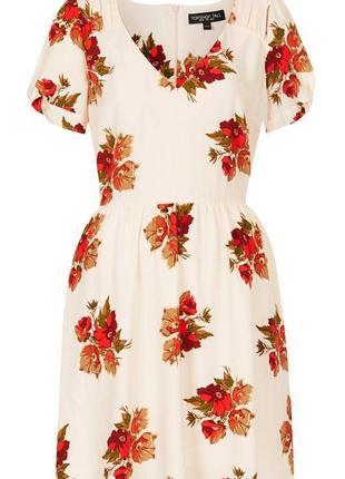 Платье чайное а-силуэт v-образный вырез цветочный принт