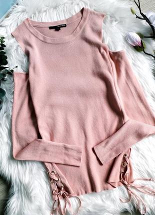 Розовая кофточка tally weijl с открытыми плечами в размере  m-l, тонкой вязки