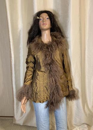 Люксовая куртка на синтепоне с натуральным мехом ламы blacky dress