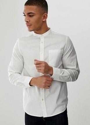Белая льняная рубашка abercrombie & fitch