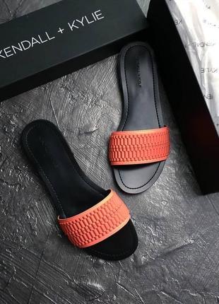 Kendall + kylie оригинал кожаные оранжевые сандалии шлепки