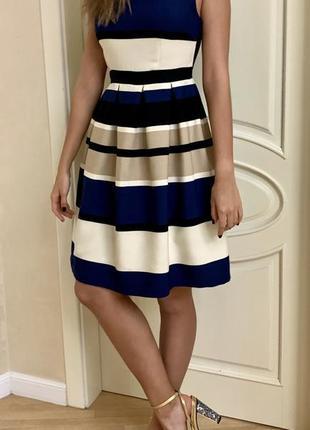 Платье в полоску sweet miss бежевое синее в морском стиле беби долл оригинал полосатое