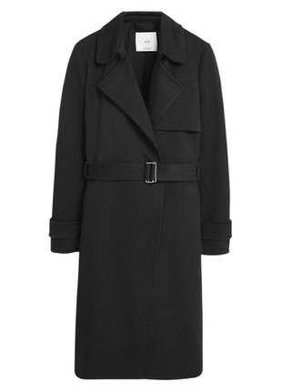 Пальто халат на запах на поясе тренчкот тренч плотный черный качественный бренд
