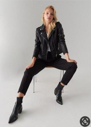 Куртка косуха черная кожаная кожанка чорна шкіряна шкіра эко кожа h&m