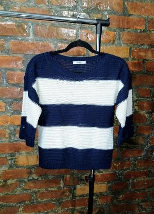 Джемпер пуловер свитер с грубой вязкой в полоску george