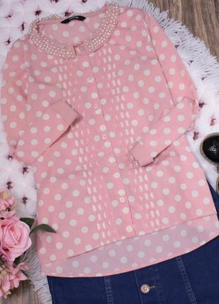 Классная нарядная нежная блуза в горох
