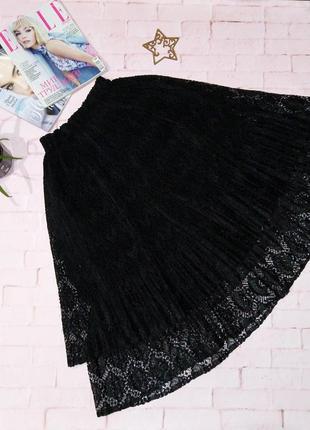 Женственная гипюровая кружевная юбка миди