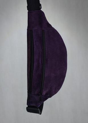 Стильная бананка натуральная кожа, модная сумка на пояс плече фиолетовая кожа