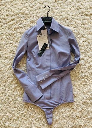 Рубашка голубая офисная комбидресс боди brian dales оригинал хлопковая хлопок классическая