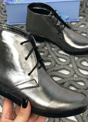 Ботинкки, ботильоны красные на низком ходу натуральная кожа