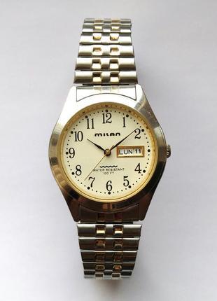 Milan мужские часы из сша дата день недели браслет twist-o-flex wr