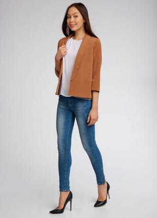 Брендовый каштановый коричневый легкий пиджак жакет блейзер kaffe вискоза этикетка