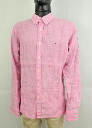 Tommy hilfiger мужская рубашка лен полоски, льон летняя сорочка