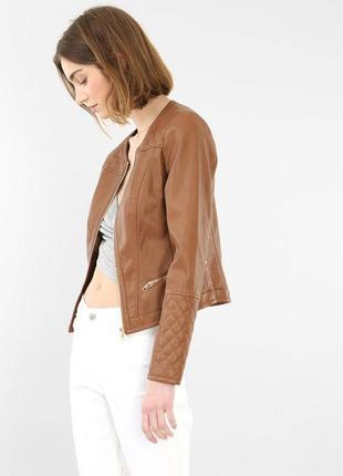 Кожаная куртка pimkie со стегаными рукавами
