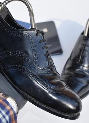 Мужские туфли броги с перфорацией черные кожаные размер 41