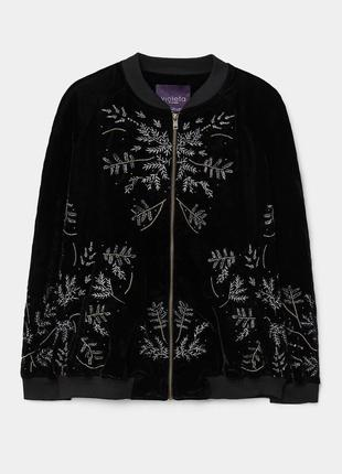 Бархатный бомбер/легкая курточка с вышивкой от mango violeta из испании