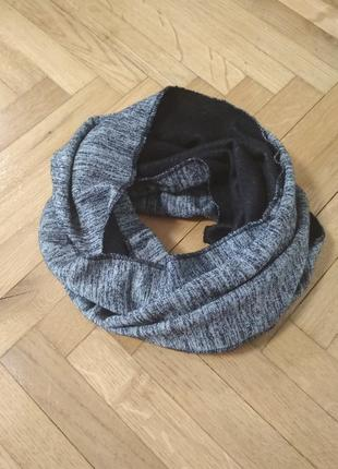 Отличный теплый шарф снуд серый меланж от. c&a