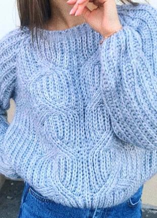 Укороченый свитер небесно голубого цвета