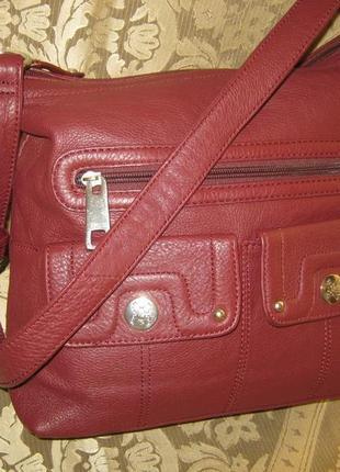 Stone mountain брендовая кожаная сумка торба п-ва сша состояние новой натуральная кожа