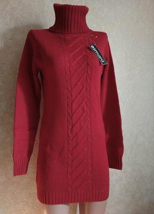 Вязаный пуловер платье длинный свитер
