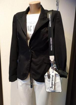 Стильный изысканный брэндовый пиджак фрак жакет черный
