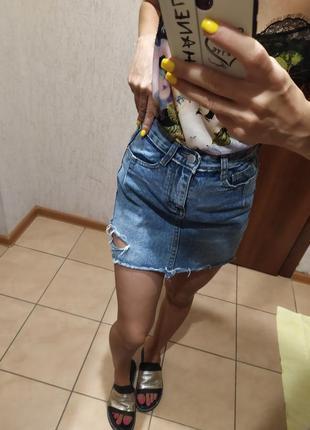 🧁фирменная джинсовая юбка с разрезиком!🧁цена со скидкой✅