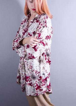 Женская рубашка, длинная рубашка с принтом, свободная шифоновая блуза