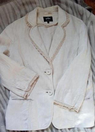 Бесподобный льняной пиджак 100 % лен с отделкой кружевом