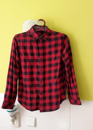 Стильная рубашка в клетку от uniglo kids